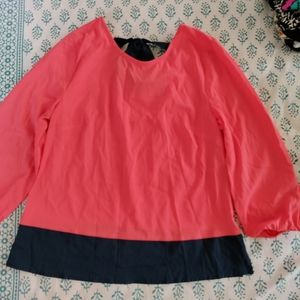 Coral top with tie up back